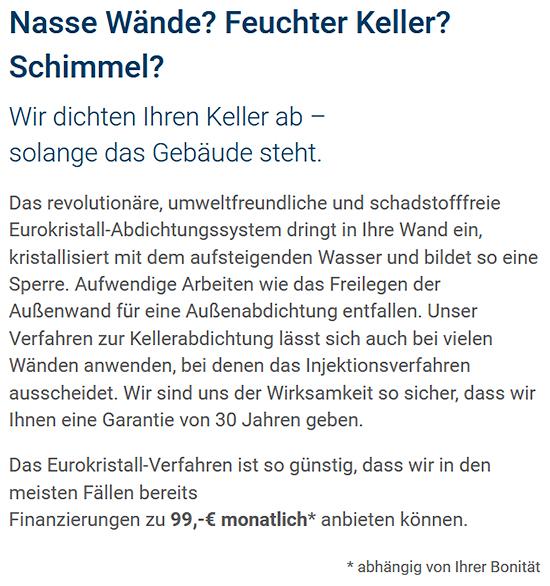 Kellerabdichtung, Kellersanierung, Hilfe gegen feuchte Wände für 70173 Stuttgart